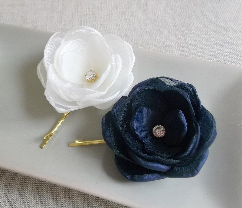 Mariage - Ivory Navy small fabric flowers in handmade Bridal Bridesmaids hair clip Dress sash accessory Ornament Flower girls gift Rhinestones Crystal