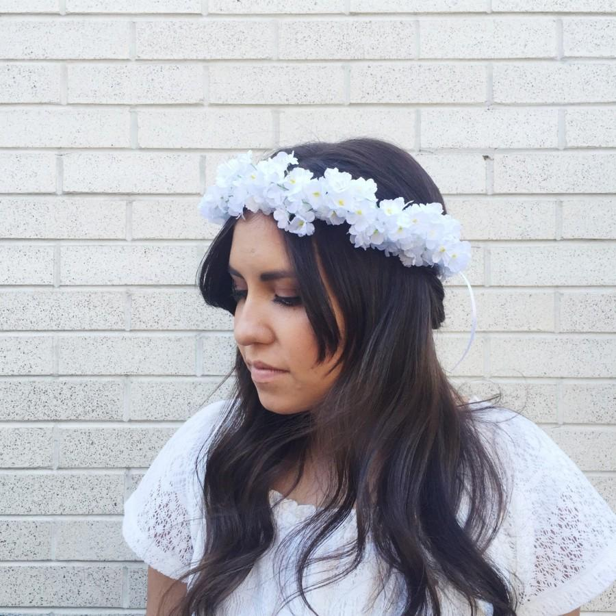 White Babys Breath Flower Crown Bridesmaid Flower Crown Natural