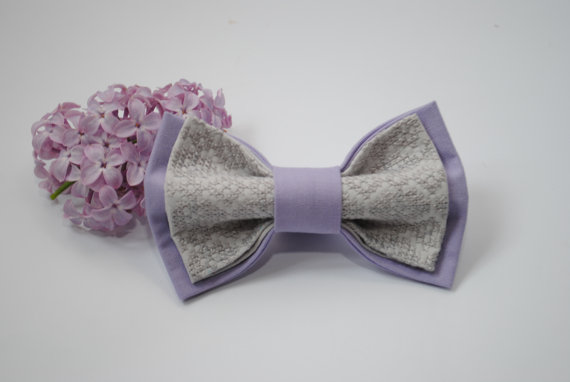 Hochzeit - Embroidered bowtie Lilac morning gray pretied bow tie Groomsmen bow ties Men's bowtie Gifts for brother For lavender wedding Birthday gifts