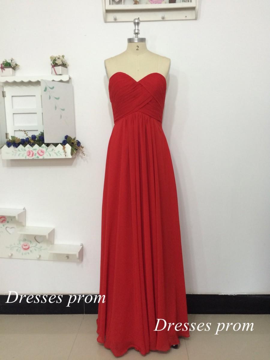 Hochzeit - Red Elegant A-line Sweetheart Floor-length Ruffles Chiffon Dress Long Evening Dress - Prom Dress - Bridesmaid Dress 2015 New