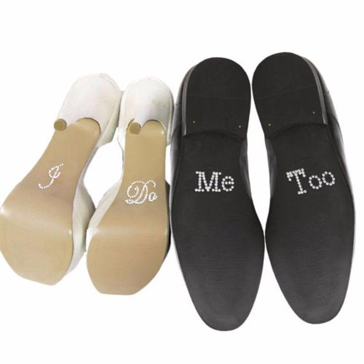 زفاف - 1 Set I Do Me Too Bridal Groom Shoe Sticker White Clear Rhinestone Wedding Decor