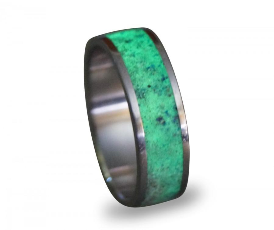 Hochzeit - Glow In The Dark Ring, Titanium Men's Ring, Lapis Lazuli and Glow In The Dark Powder Ring