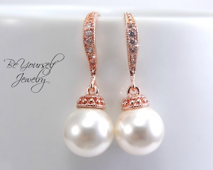 Rose Gold Bridal Earrings Pearl Bride Earrings Wedding Jewelry Swarovski Pearls Wedding Earrings Pink Gold Bridesmaid Earrings Pearl Jewelry 2539852 Weddbook