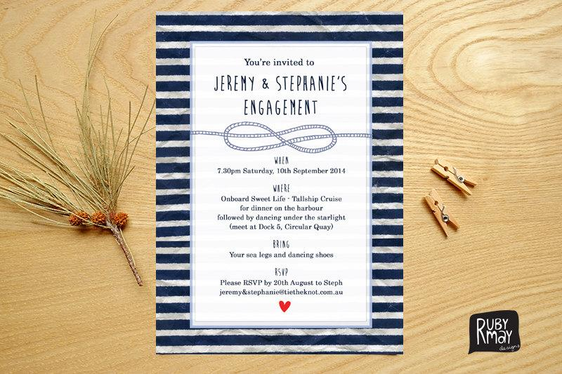 Mariage - Nautical Engagement Invitation, Tie the Knot Invitation - digital or printed - beach engagement invite, navy blue stripes, modern engagement