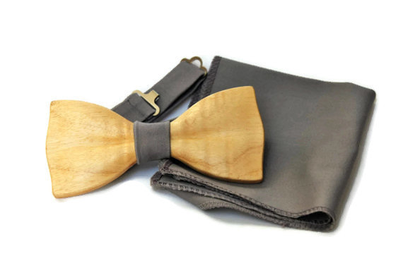Свадьба - Grey bow tie. Grey wood bow tie. Grey wedding bow tie. Gey groomsmen bow tie. Handmade wood grey bow tie.