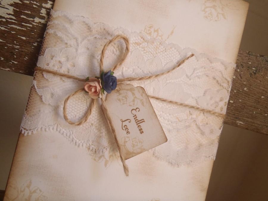 Vintage Romantic Wedding Invitation Blush Pink Navy Roses Lace