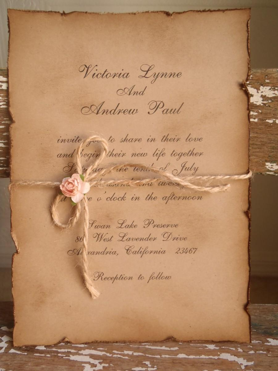 Woodland Vintage Kraft Blush Pink Wedding Invitation Rustic Romantic Shabby Garden