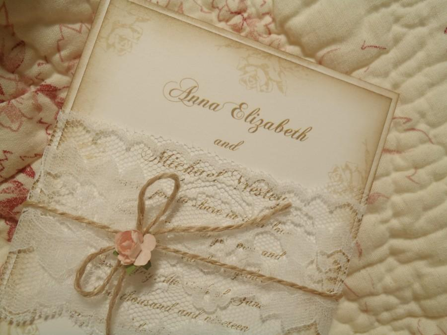 Blush Pink Roses Lace Band Romantic Paris Shabby Rustic Victorian Wedding Invitation Jute Peach Coral Quinceanera Woodland