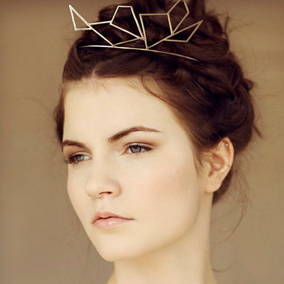 Wedding - Geometric Silver Crown Tiara, Bridal Accessory, Modern Unique Design, Wedding Hair Idea