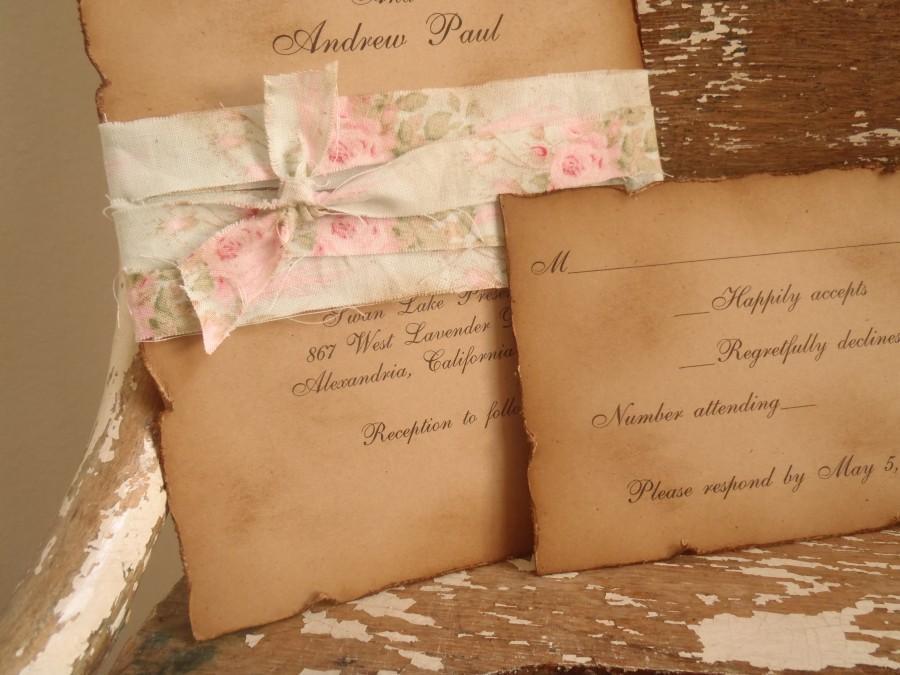 Vintage Mint Green Pink Shabby Kraft Wedding Invitation Rustic