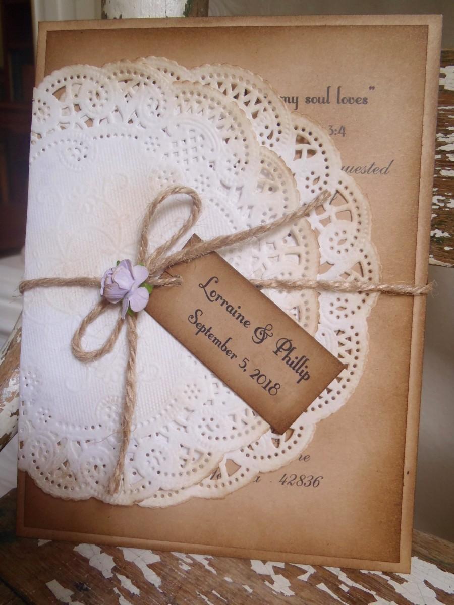 Vintage Lavender Purple Kraft Wedding Invitation Romantic – Rustic Romantic Wedding Invitations