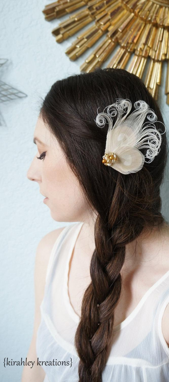 Mariage - Peacock Feather Wedding Bride Hair Clip Fascinator NADIA Champagne Ivory Bridal Headpiece White & Gold Freshwater Pearls Hand Beaded Cluster