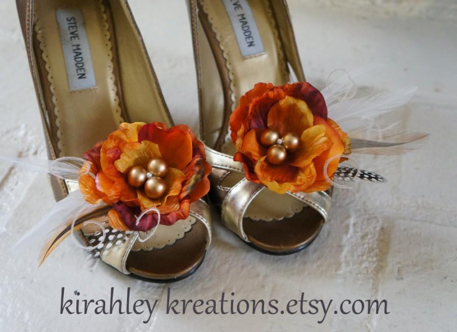 Fall Harvest Shoe Clips Burnt Orange Pumpkin Peony Flower Wedding Shoes Ivory Guniea Feathers Autumn Bride Bridesmaid Accessory