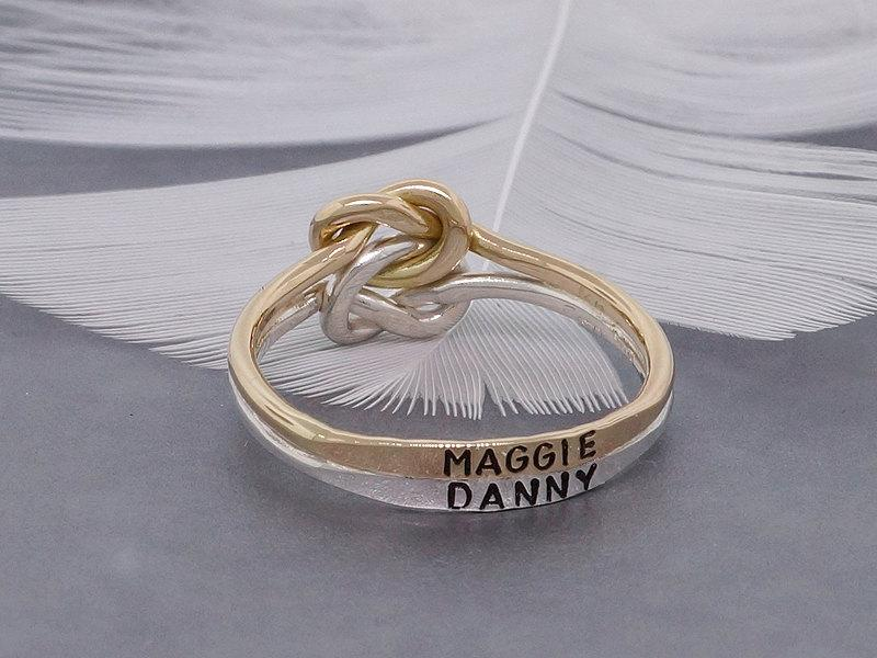 Wedding - Personalized double love knot engagement ring, 14k solid gold and silver ring