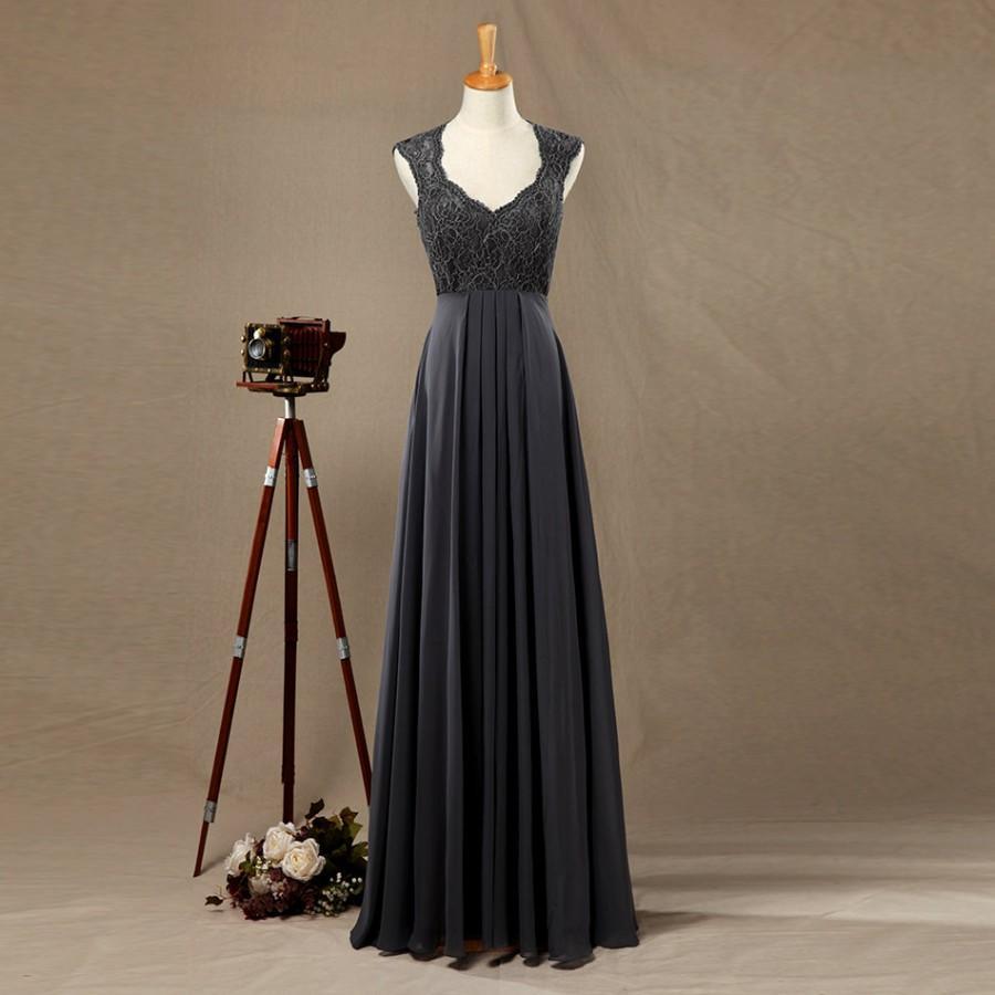 2016 dark grey bridesmaid dress lace wedding dress for Dark grey wedding dresses