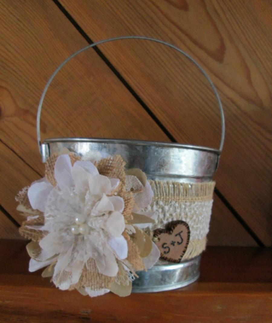 Flower Girl Baskets Burlap And Lace : Personalized flower girl bucket burlap and lace wedding
