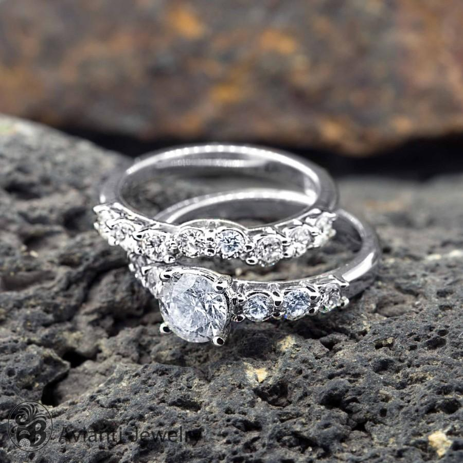 solitaire with band carat wedding an pin engagement round rings huffordsjewelry classy paired classic