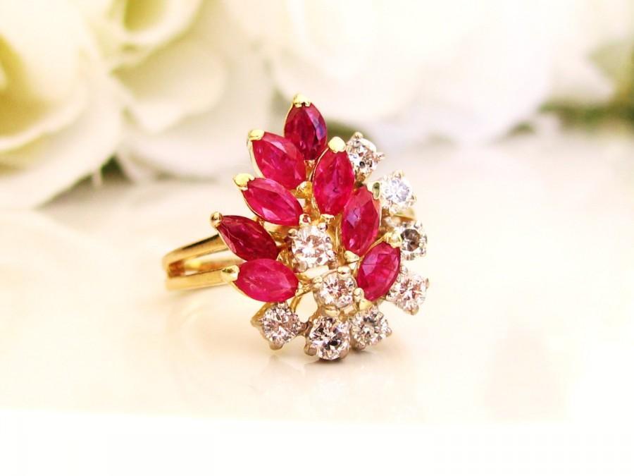 865986a1ec961 Italian Gold Diamond & Ruby Waterfall Ring 0.45dtw Diamond Wedding ...