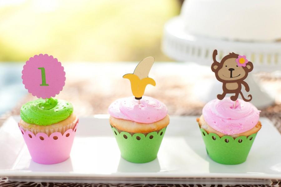Girl Monkey Jungle Cupcake Toppers Mod Monkey Theme Birthday Zoo