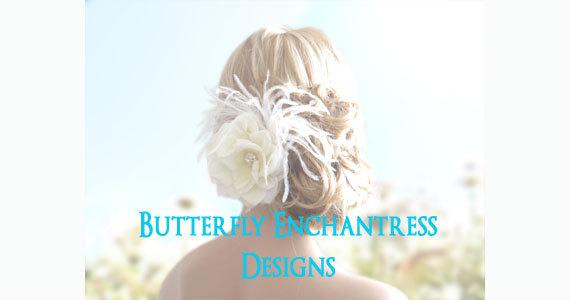 Wedding - Bridal Hair Flower, Wedding Hair Accessory, Flower Hair Clip - Ivory Natalia Rose Flower Feather Hair Clip