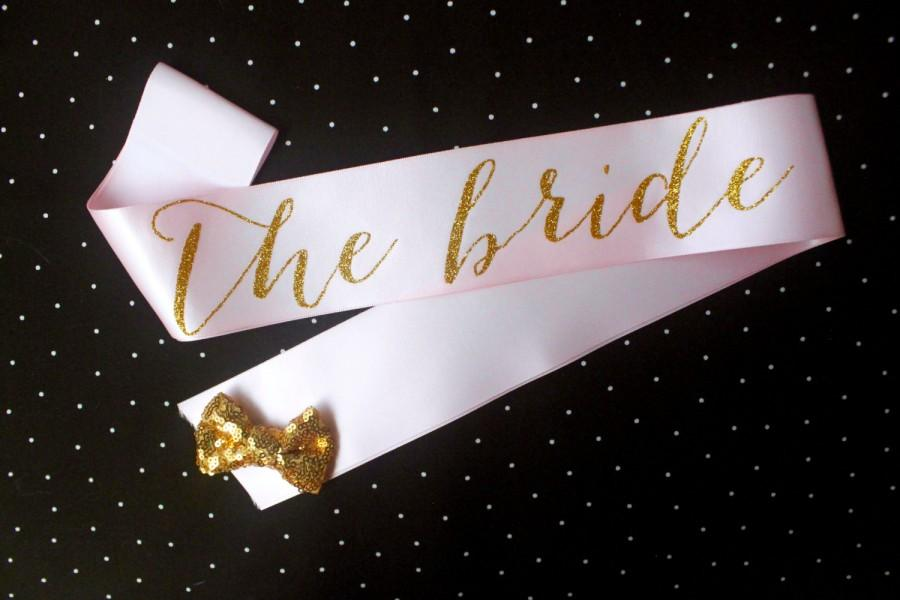 Light Pink And Gold Glitter Bachelorette Sash