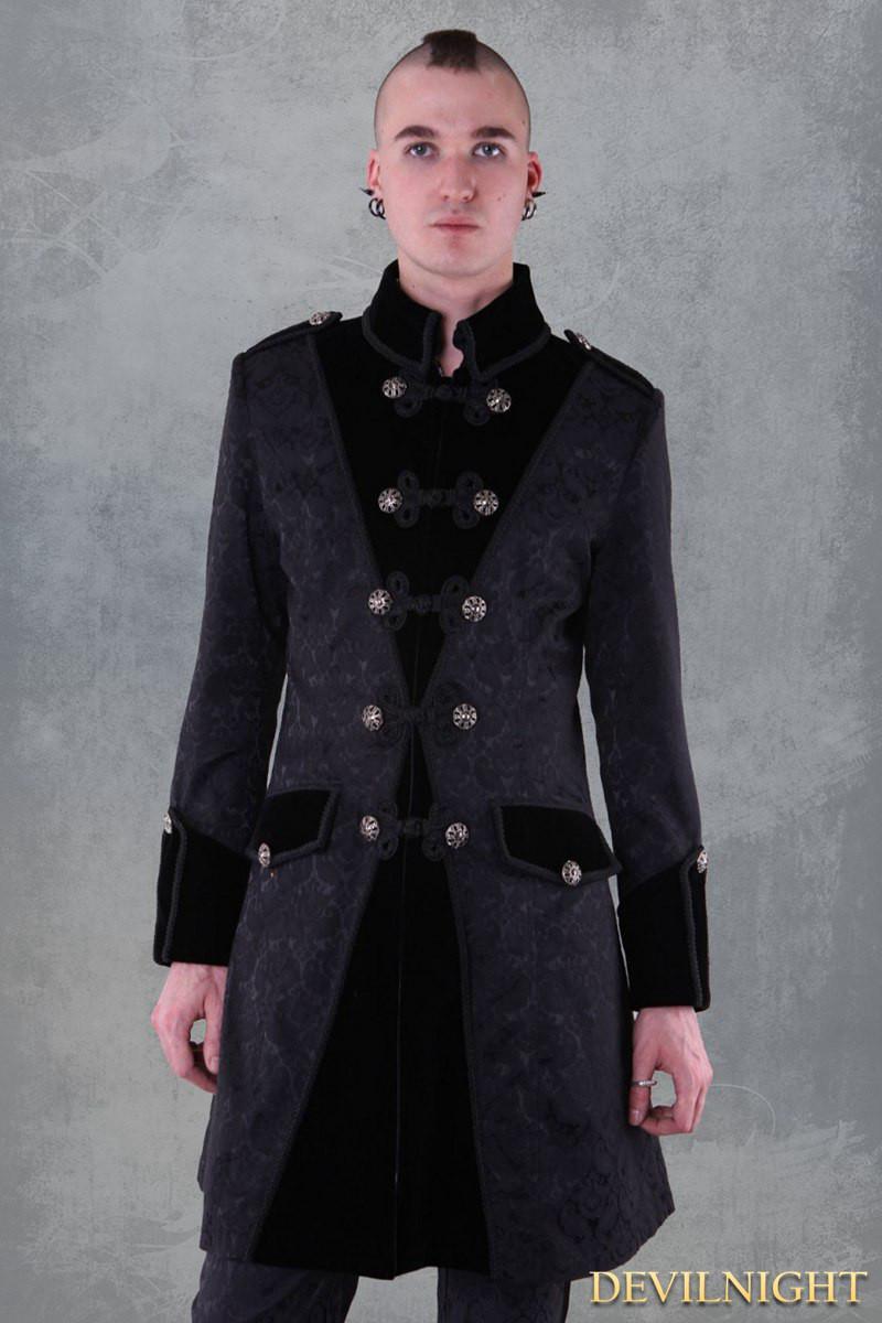 Wedding - Black Pattern Winter Gothic Coat for Men
