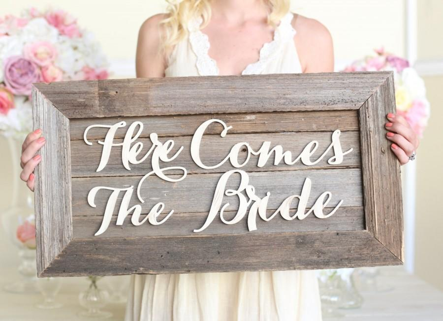 Свадьба - Here Comes The Bride Wedding Sign Rustic Barn Wood NEW 2014 Design by Morgann Hill Designs