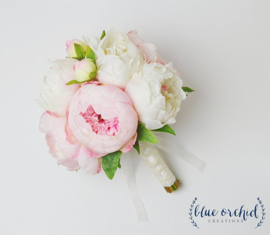 Свадьба - Peony Bouquet with White and Pink Peonies - Silk Peony Wedding Bouquet, Peonies, Cream and Blush Peonies