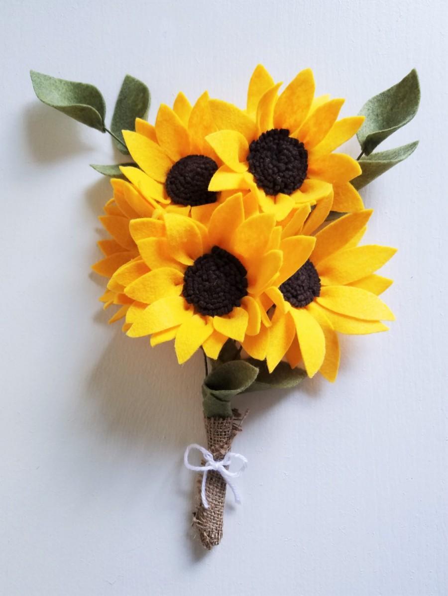 Sunflower Bouquet Felt Flower Bouquet Wedding Bouquet