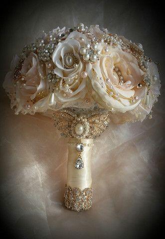 Hochzeit - Pink Rose Gold Jeweled Bouquet