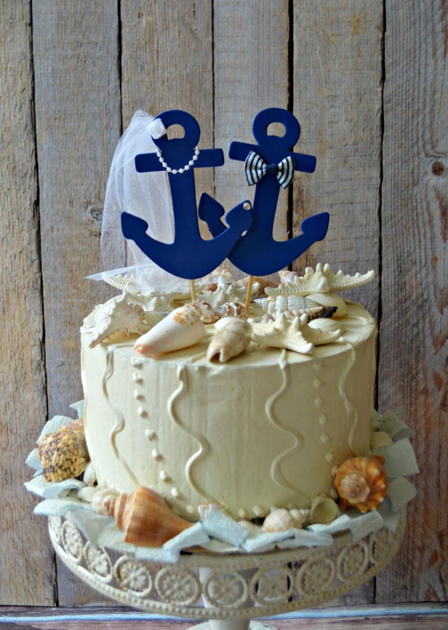 Mariage - Anchors Away wedding cake topper-Anchors-boat wedding cake topper-sailing-sailing cake topper-nautical theme-beach wedding