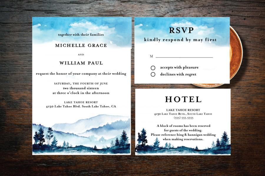 Printable Rocky Mountain Love Wedding Invitation Suite - Boho ...