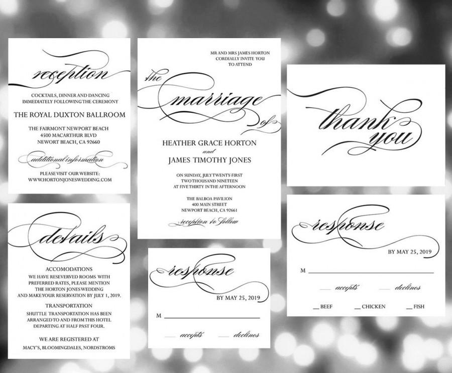 Printable Wedding Invitation Template , Wedding Invites, Wedding ...