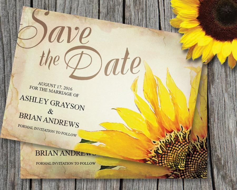 Sunflower Save The Date Card Template Wedding Rustic Vintage