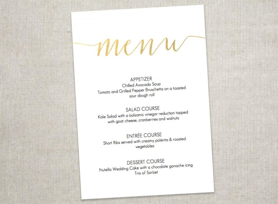 Gold Slant Menu Printable - Wedding Menu - 5X7 Inches - Gold Faux