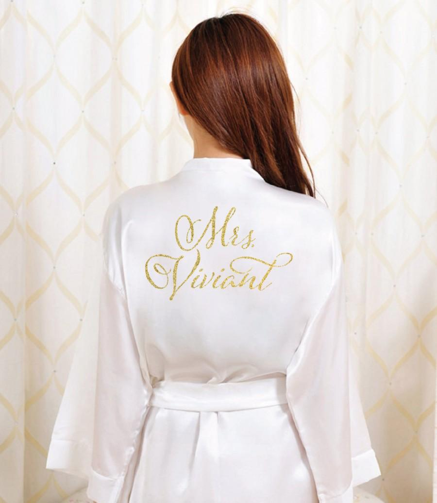 Свадьба - Gold Glitter Bridal Robe - Bride Bathrobe Satin Cover - Bridal Dressing Robe - Gold Glitter Wedding - Bridal Lingerie Shower Gift