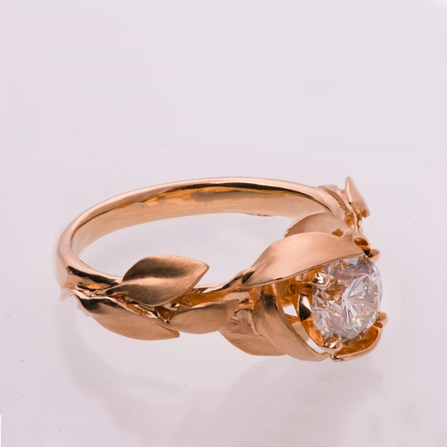 Mariage - Leaves Engagement Ring No. 7 - 14K Rose Gold and Moissanite engagement ring, leaf ring, Forever one moissanite, moissanite engagement ring