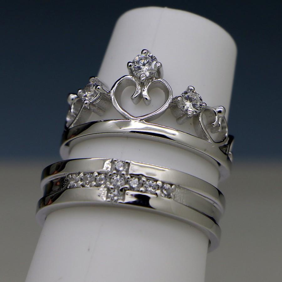 زفاف - Engravable Men and Women Couples Engagement Rings Set for 2