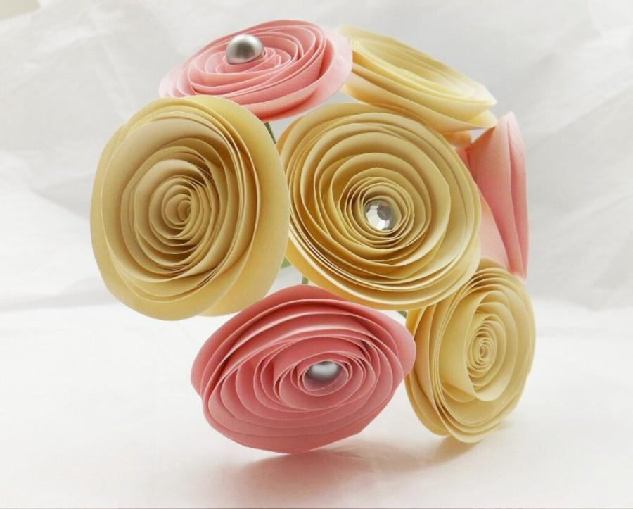 Mariage - Wedding Paper Flowers - Paper Flower Bouquet - Bridesmaids Bouquet - Toss Bouquet - Bridal Bouquet - Pink Paper Flowers - Flower Girl