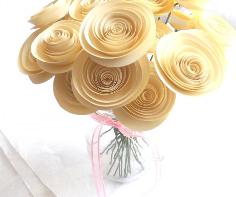 Cream paper flowers wedding paper flowers paper flower bouquet cream paper flowers wedding paper flowers paper flower bouquet ivory paper flowers off white paper flowers centerpiece paper rose mightylinksfo