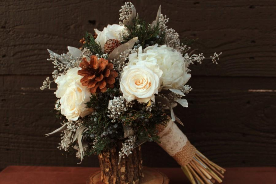 Rustic Winter White Wedding Bouquet Brides Woodland Pinecone Rose And Hydrangea Bridal