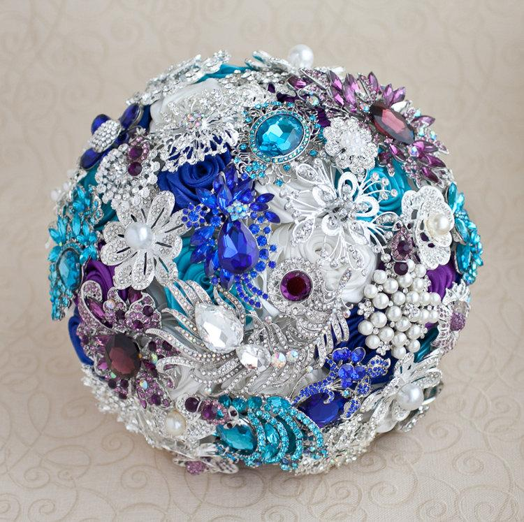 Свадьба - Brooch bouquet. Purple, Teal, White and silver wedding brooch bouquet, Jeweled Bouquet. Made upon request