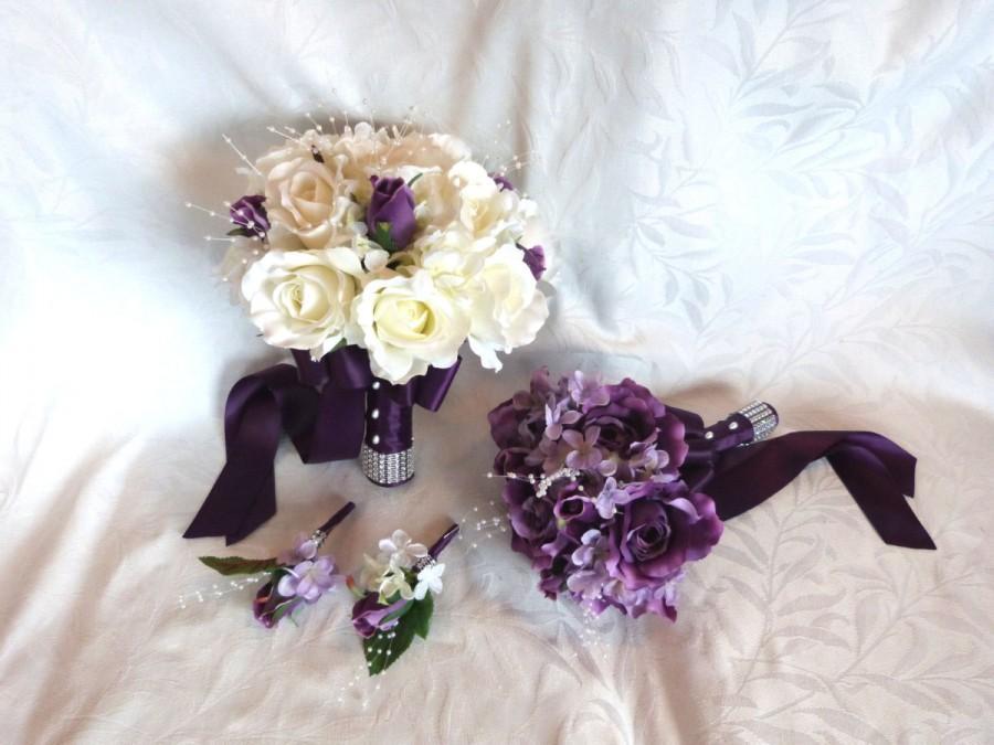 Mariage - Bridal bouquet bridesmaid bouquet purple roses lilac hydrangea wedding bouquet and boutonniere set