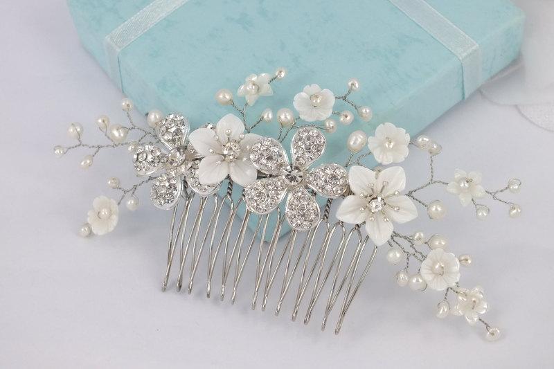 Wedding - Annie-Mother Pearl Flower,Freshwater Pearl and Rhinestone Flower Bridal Comb