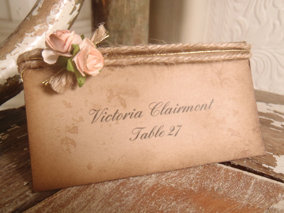 Свадьба - Wedding, Escort, Place Card, Tent Card, Shabby Romantic, Coral, Peach, Blush Pink Rose, Woodland, Rustic, Paris, Cowgirl, Barn, kraft, jute