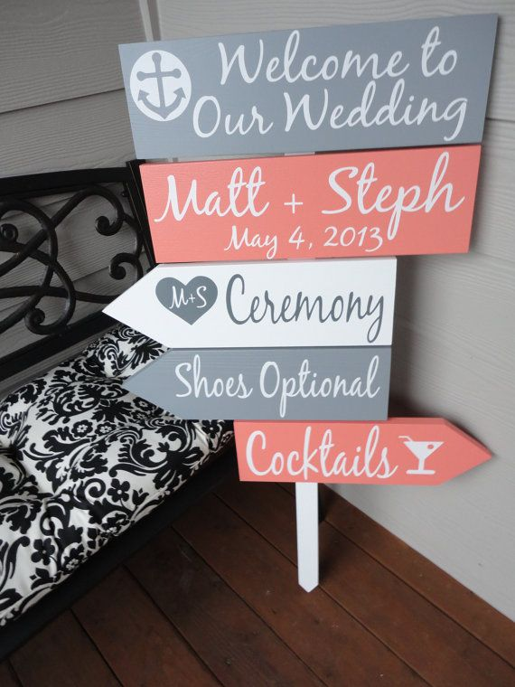 Wedding - Beach Wedding Signs. Five Customized Directional Signs With Arrows With Bride And Grooms Names/Date. Wedding Ceremony, Event Or Celebration
