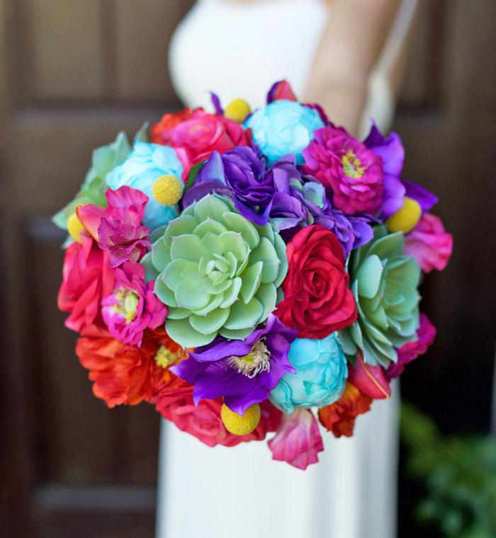 Wedding Mix Succulent Bouquet Fuchsia Red Purple Blue And Yellow Silk Roses Hydrangeas Peonies Bridal