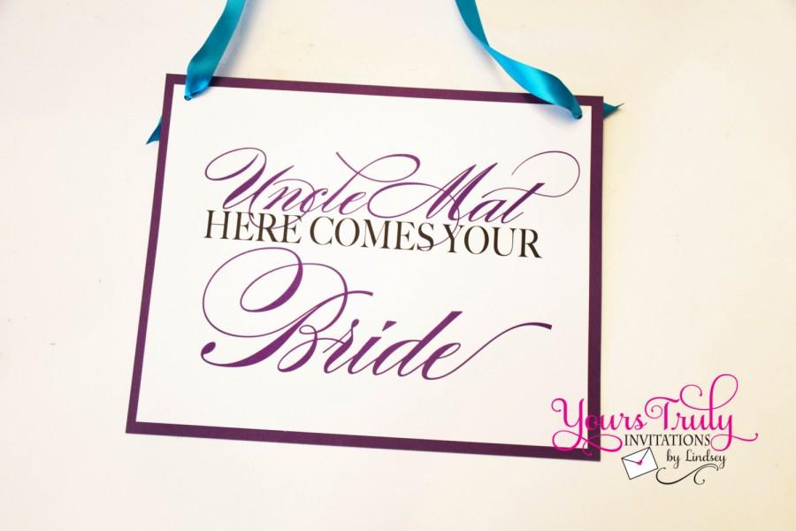 Wedding - Double sided Here Comes Your Bride Sign and Mrs. and Mrs. Established on the other side personalized in your colors