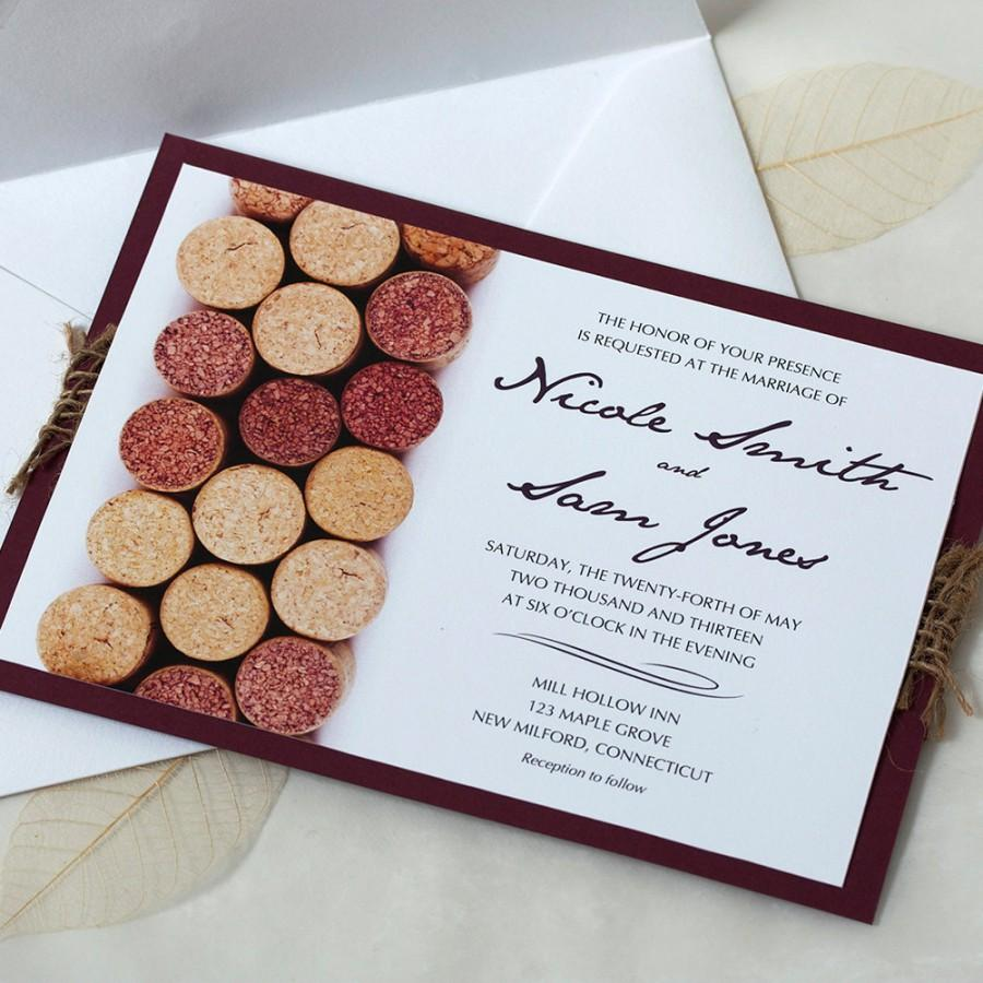 Wine Cork Wedding Invitation Vineyard Wedding Invitation Wine