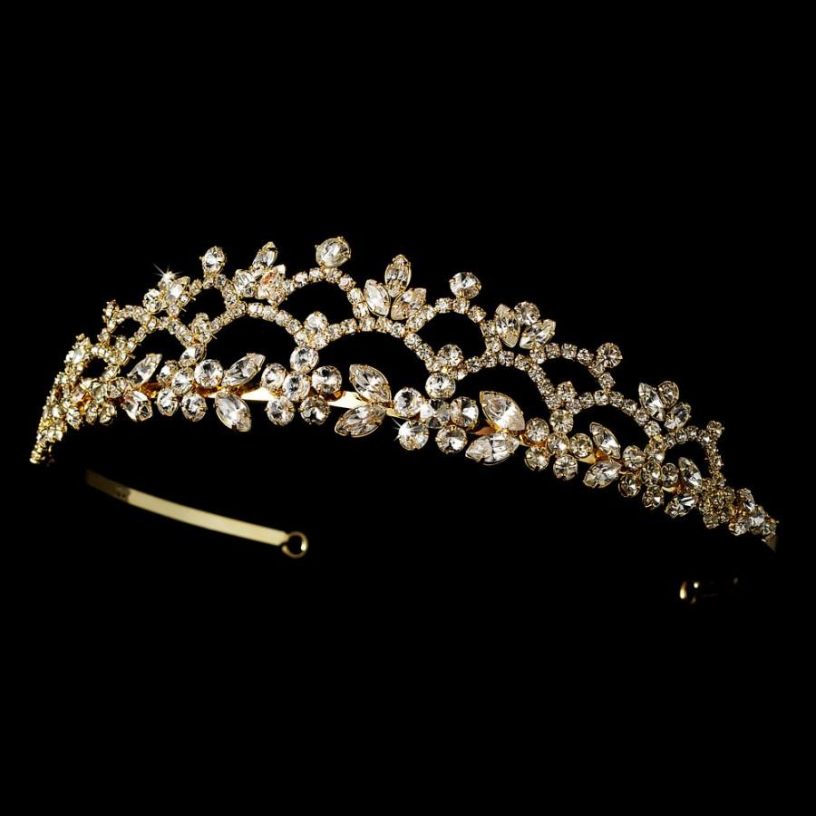 Mariage - Romantic Floral Rhinestone Curling Gold Wedding Bridal Tiara -Gold